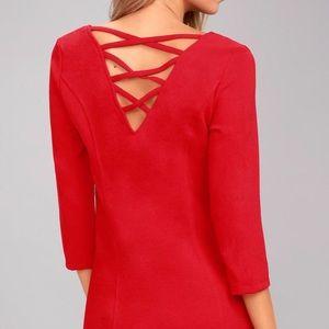 Lulu's red long sleeve dress